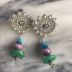 Jewelry - Artist Made Silver Amethyst Bead Bohemian Earrings